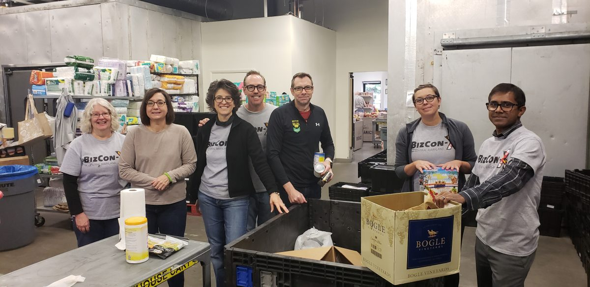 Biz Con-X volunteers at the Howard County Food Bank